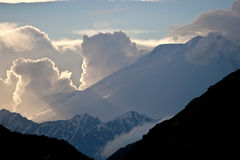 Clouds and Mountains. Caucasus Mountains Elbrus, Adilsu june 2010 Stock Photo