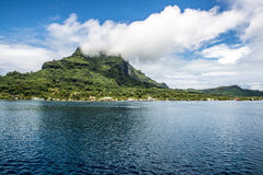 Clouds in the Mountains of Bora Bora Royalty Free Stock Photo