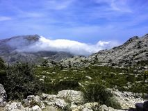 Clouds in mountains - Majorca Royalty Free Stock Images