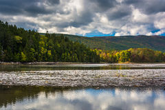 Clouds and mountains reflecting in Otter Cove at Acadia National Royalty Free Stock Images