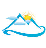 Clouds mountains and sun logo Stock Photography