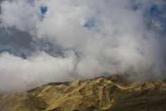 Among the clouds in the mountains. On top of the mountain Tahtali (Tahtalı Dağları). Mountain near Kemer in Western Taurus mountain range. Passenger ropeway Royalty Free Stock Image