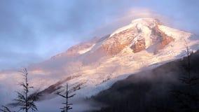 Clouds Move in Mt Baker High Alpine Heliotrope Ridge Sunset stock footage