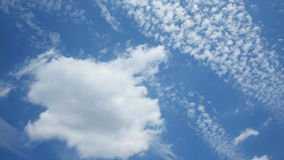Clouds moving across blue sky stock footage
