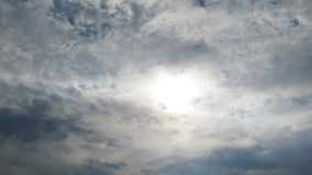 Clouds are Moving in the Blue Sky with Bright Sun Shining. TimeLapse. Beautiful White fluffy clouds over blue sky soar in Time lapse. Clouds background stock video