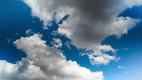 Clouds moving in the blue sky stock video footage