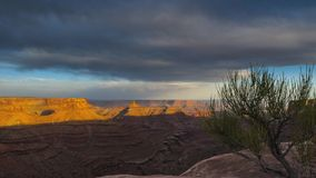 Clouds moving over the canyon at Sunset Timelapse Stock Photography