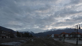 Clouds moving over the city of Bansko stock footage