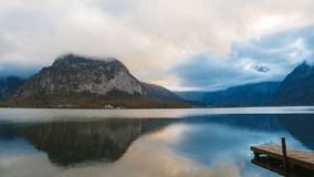 Clouds moving over the lake stock footage