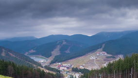 Clouds moving over the mountains stock video footage