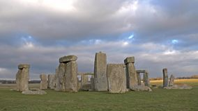 Clouds moving over Stonehenge, Wiltshire England stock footage