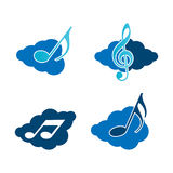Clouds and music. Illustration in vector format Royalty Free Stock Images