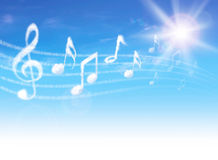Clouds music notes on blue sky with clouds and sun. Stock Photo
