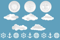 Clouds and nautical design elements Stock Photography