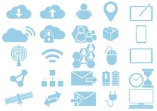 Clouds Networking Mobile Device Communication Web Icon Collection Royalty Free Illustration