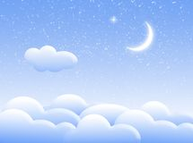Clouds in the night. Illustration about sky with clouds and moon vector illustration
