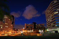 Clouds in the Night. The clouds formation at night scene sandwich between the two big buildings located in the Promenade downtown Long Beach, CA Royalty Free Stock Photo
