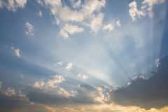 Clouds obscured the sun just before sunset. Royalty Free Stock Photos