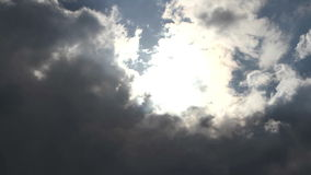 Clouds obscured the sun before the storm stock video