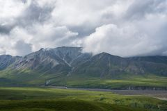Mt Mather and Herschel in Denali National Park. The clouds obstructed Denali but Mt Mather and herschel are visible in the foreground Royalty Free Stock Images