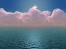 Clouds and ocean stock illustration