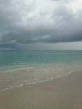 Clouds on Ocean Skyline during Rain at South Beach, Miami. Stock Photography