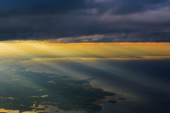 Clouds Ocean view from airplane Stock Photo