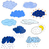 clouds olikt tecknad hand Blått moln på vit bakgrund Royaltyfria Bilder