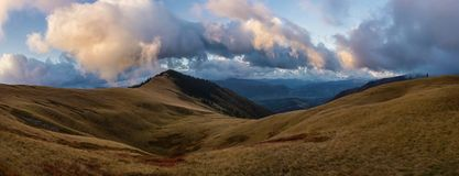 Clouds onthe ridge. View on the clouds onthe ridge in Carpathians Stock Photo