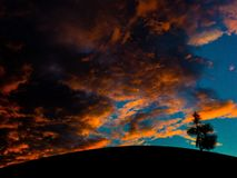 clouds orangen Royaltyfri Foto