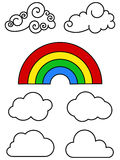 Clouds outline. And colorful rainbow on white background Stock Image
