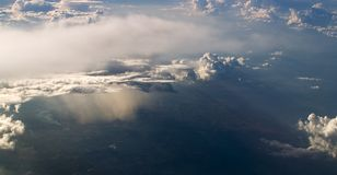 Clouds over Amazon river. Different cloud formations over Amazon river. Cumulus and storm clouds Stock Image