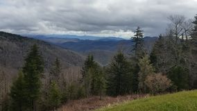 Clouds over the Appalachian Mountains. Clouds moving over the Linville Gorge Wilderness area in North Carolina stock footage