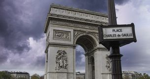 Clouds over Arc de Triomphe in Paris. France Royalty Free Stock Photos