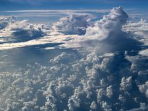Clouds over Atlantic. Different cloud formations over Atlantic ocean. Cumulus and storm clouds Royalty Free Stock Photography