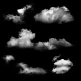 Clouds over black background Stock Photos