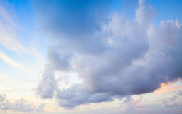 Clouds over blue sky in summer morning. Background photo texture Royalty Free Stock Images