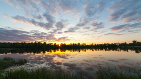 Clouds over a bog with plants and a tree. Time-lapse a sunset with bright clouds. Over a reservoir. Video over the river. Reflection of clouds stock footage