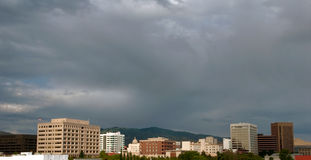 Clouds over the Boise, Idaho City Skyline. Dark cloudy skys over the Boise, Idaho City skyline Stock Photos