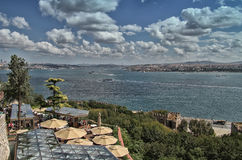 Clouds over Bosporus. Scene from the Bosporus strait in Istanbul, Turkey - photo was taken from the Topkapi Palaces terrace Stock Photography