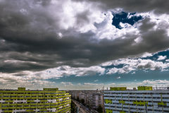 Clouds over Bucharest, Pantelimon district. View to Socului road. Buildings in rehabilitation royalty free stock images