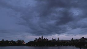 Clouds over Canada's capital city stock video footage