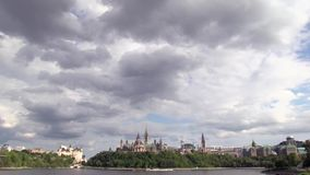Clouds over Canada's capital city stock footage