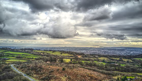 Clouds over Cardiff. View of a dramatic Sky over Cardiff, taken from the top of Caerphilly Mountain Royalty Free Stock Photography
