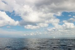 Clouds over Caribbean Sea. Photo beautiful sky over the turquoise Caribbean Sea stock image