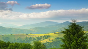 Clouds over Carpathian Mountains and Valleys. Time Lapse stock video