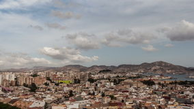 Clouds over Cartagena, Spain. Clouds over the city of Cartagena, region Murcia, Spain. Time lapse video with zoom out effect stock video