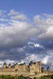 Clouds over the citadel of Carcassonne Royalty Free Stock Image