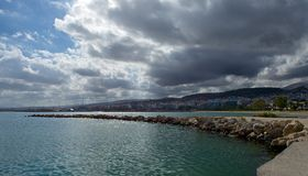 Clouds over the city of Rethymno. The sky above the coastal town of Rethymno, clouded over. Soon it will rain Royalty Free Stock Photo