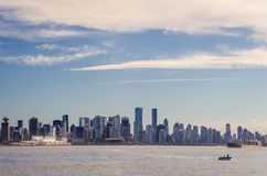 Clouds over city of Vancouver in Canada - panoramic view Stock Images